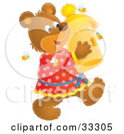 Clipart Illustration Of A Happy Bear Carrying A Bee Hive Surrounded By Bees
