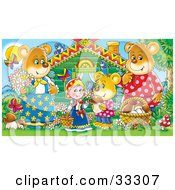 Clipart Illustration Of Goldilocks Standing Outside A Cabin With The Three Bears Mushrooms Butterflies And Birds by Alex Bannykh