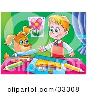 Clipart Illustration Of A Dog Handing A Little Boy A Color Pencil While Coloring