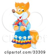Clipart Illustration Of A Female Fox In A Blue Floral Dress by Alex Bannykh
