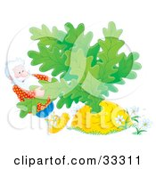 Poster, Art Print Of Man Trying To Pull A Giant Turnip Or Carrot Out Of The Ground
