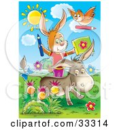 Clipart Illustration Of A Bird Rabbit And Donkey Coloring Outside In A Flower Garden by Alex Bannykh