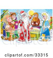 Clipart Illustration Of A Group Of People Bird Cat And Dog Around A Treasure Chest And A King Of Winter Or Santa Clause