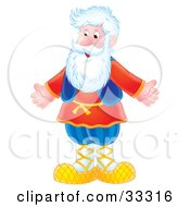 Clipart Illustration Of A Happy Senior Caucasian Man With A White Beard Standing With His Arms Out by Alex Bannykh