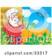 Clipart Illustration Of A Senior Man Leaning Against His Log House And Thinking A Bluebird Flying Nearby by Alex Bannykh