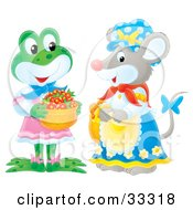 Cute Female Frog In Clothes Carrying A Basket Of Strawberries And Chatting With A Female Mouse