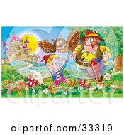 Clipart Illustration Of An Evil Man Running Towards A Happy Boy While An Owl Tries To Alert Him by Alex Bannykh