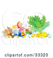 Clipart Illustration Of A Mouse Cat Dog Girl Woman And Man Trying To Pull A Giant Carrot Or Turnip Out Of The Ground by Alex Bannykh