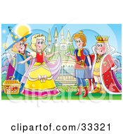 Fairy Godmother Standing Behind A Princess Like Cinderella A Prince And King Standing In Front Of A Castle With A Glass Slipper