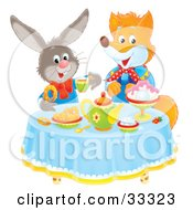 Clipart Illustration Of A Fox And Rabbit Socializing At A Tea Party by Alex Bannykh