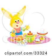 Clipart Illustration Of A Yellow Hare Sipping Tea And Eating Snacks At A Tea Party by Alex Bannykh