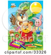 Clipart Illustration Of A Bee Owl Pig And Bear Coloring Outside by Alex Bannykh
