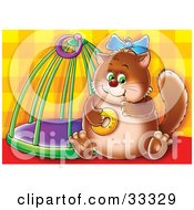 Clipart Illustration Of A Chubby Brown Cat Sitting By A Cage Eating A Donut