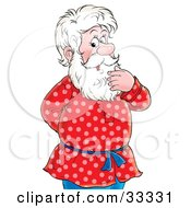 Clipart Illustration Of A Senior Man Rubbing His White Beard Standing With One Hand Behind His Back by Alex Bannykh