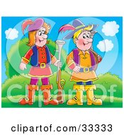 Clipart Illustration Of Two Male Hunters Standing Outdoors With Their Guns