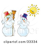 Clipart Illustration Of Two Melting Snowmen Under The Bright Sun On A White Background