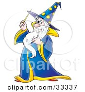 Clipart Illustration Of A Friendly Male Wizard In A Blue And Yellow Hat And Cape Holding A Magic Wand by Alex Bannykh