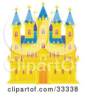 Clipart Illustration Of Golden Castle With Purple Drapes In The Windows And Blue Roofing And Turrets by Alex Bannykh