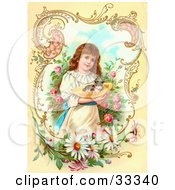 Clipart Illustration Of A Little Victorian Girl Gently Carrying A Calico Kitten In A Hat Through A Rose Garden Framed By Scrolls And Daisies