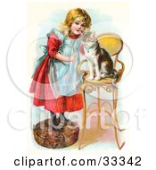 Little Blond Victorian Girl Trying To Train Her Cat To Listen To Her Commands Teaching Kitty To Sit On A Stool