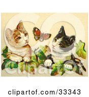 Clipart Illustration Of Two Curious Victorian Cats In Ivy Leaves Watching A Butterfly by OldPixels