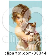 Clipart Illustration Of A Little Curly Haired Victorian Child Holding A Kitten In Their Arms Over A Blue Background
