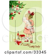 Clipart Illustration Of A Little Victorian Girl Hugging Her White Cat And Standing By Toys Near A Christmas Tree On A Green Background With Greeting Text by OldPixels