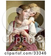 Clipart Illustration Of A Little Blond Victorian Girl Hugging Her Mom From Behind As She Knits A Cat Rubbing Against Her Arm