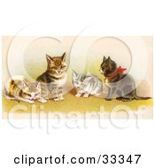 Clipart Illustration Of Four Adorable Victorian Kittens In A Group One Wearing A Red Bow