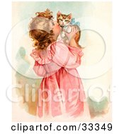 Clipart Illustration Of A Little Victorian Girl In A Pink Dress Holding Up And Kissing Her Cute Kitten On The Cheek by OldPixels