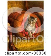Clipart Illustration Of A Pampered Victorian House Cat Taking A Leisurely Rest Inside A Muff Handwarmer On A Chair by OldPixels