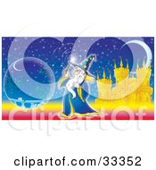 Clipart Illustration Of A Magical Wizard Conducting Magic With His Wand Near A Crystal Ball In Front Of A Castle And Crescent Moon