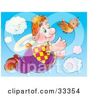 Clipart Illustration Of A Chubby Flying Boy In The Sky With A Brown Bird