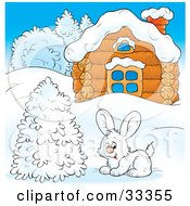 White Hare Near A Flocked Tree In Front Of A Log Cabin In Winter