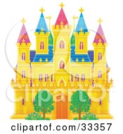 Clipart Illustration Of A Two Trees In Front Of A Golden Castle With Green Purple And Blue Roofing And Turrets