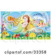 Poster, Art Print Of Brunette Mermaid Swimming With A Sea Turtle Shark Fish And Eel Above A Hermit Crab And An Anchor In The Sea