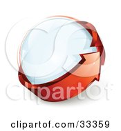 Clipart Illustration Of A Glass Orb Being Circled By A Red Arrow by beboy