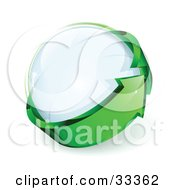 Clipart Illustration Of A Glass Orb Being Circled By A Green Arrow by beboy