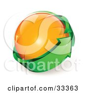 Clipart Illustration Of An Orange Glass Orb Being Circled By A Green Arrow by beboy