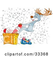Clipart Illustration Of A Reindeer Trying To Pull Santa Out Of A Chimney Of Which He Is Stuck On A Snowy Christmas Eve