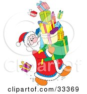 Clipart Illustration Of Santa Claus Trying Not To Drop Presents While Carrying A Stack Of Gifts