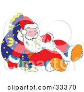 Clipart Illustration Of Santa Resting Against A Toy Sack After Getting Drunk Of Of Champagne