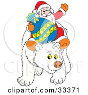 Clipart Illustration Of Santa Waving And Holding His Toy Sack While Riding On The Back Of A Friendly Polar Bear by Alex Bannykh