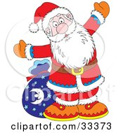 Clipart Illustration Of Santa Holding His Arms Open And Standing In Front Of His Toy Sack