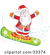 Clipart Illustration Of Santa Snowboarding And Holding His Arms Out With A Trail Of Stars by Alex Bannykh