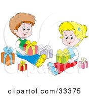 Clipart Illustration Of A Little Boy And Girl Brother And Sister Sitting On The Floor And Opening Christmas Presents