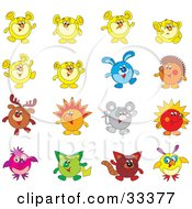 Clipart Illustration Of A Set Of 16 Animal Characters Including A Rabbit Reindeer Hedgehog Mouse And Cat by Alex Bannykh