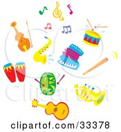 Clipart Illustration Of A Set Of Colorful Music Notes A Cello Or Violin Sax Drums Accordion Flute Tuba And Guitar