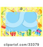 Clipart Illustration Of A Blue Background Bordered By Colorful Music Notes And Instruments by Alex Bannykh #COLLC33379-0056