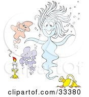 Clipart Illustration Of A Candle By Pink Purple And Blue Ghosts